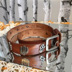 LEATHER SHOP Leather Belt Silver Cactus Concho's